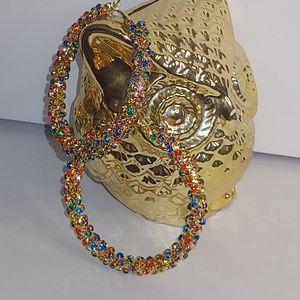 Gold Candy Rhinestone Encrusted Hoop Earrings
